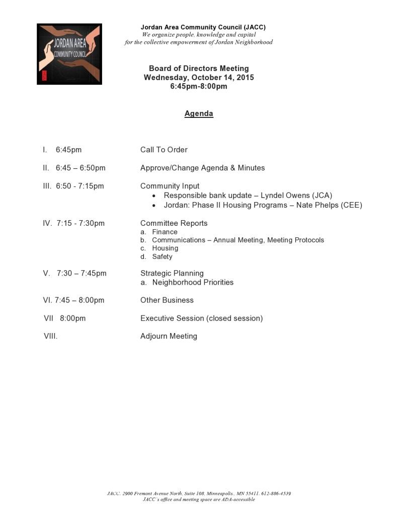 Board of Directors Meeting - October 2015 agenda-page0001